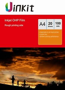 A4 Overhead Projector OHP Film Clear With Stripe For Inkjet Only - 20 Sheets  876169333095