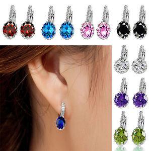 1 Pair Classic Women Elegant Crystal Rhinestone Silver Plated Ear Stud Earrings