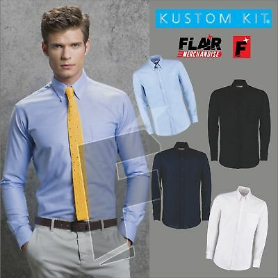 Ehrgeizig Kustom Kit Slim Fit Workwear Long Sleeved Oxford Shirt In Vielen Stilen