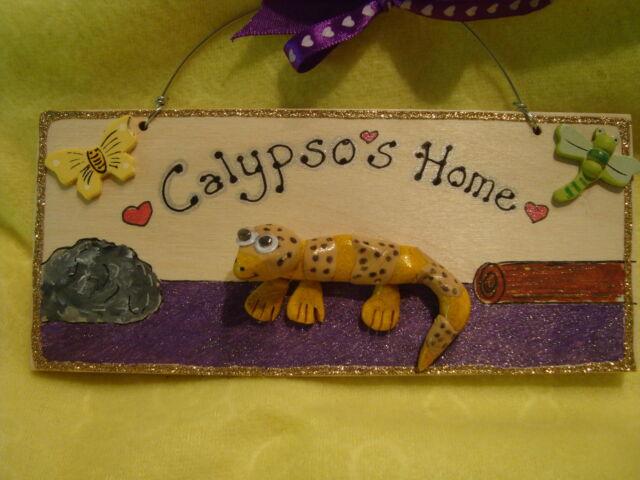 Personalised Leopard Gecko Lizard Reptile Vivarium House sign Plaque Terrarium