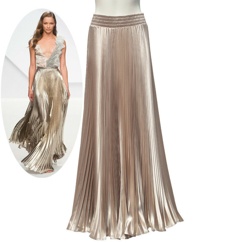 Women Pleated Skirt Metal Gloss Elastic Waist Satin Maxi Long Skirt Elegant