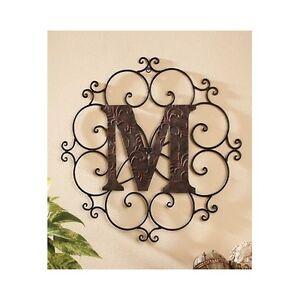 Large metal letter wall art decorative medallion alphabet for Large letter j for wall
