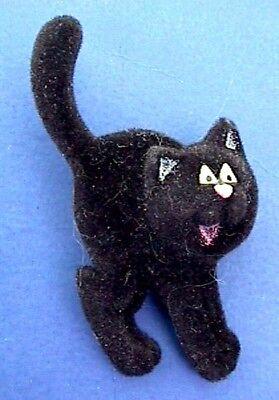 Hallmark PIN Halloween Vintage CAT BLACK in WITCH HAT Holiday Brooch