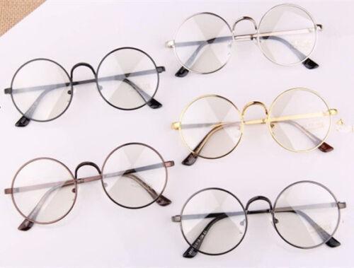 Retro Big Round Metal Frame Clear Lens Glasses Designer Nerd Spectacles Eyeglass