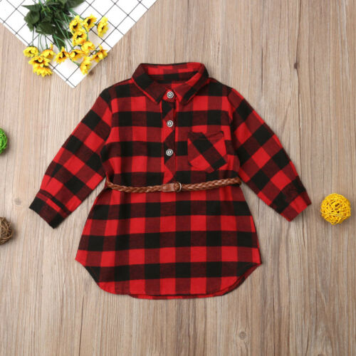 US 2Pcs Plaid Toddler Kids Baby Girl Outfit Clothes T Shirt Top Dress+Belt Set #