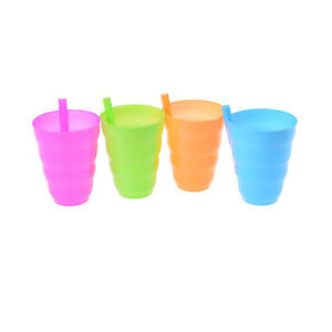 Kids Children Infant Baby Sip Cup with Built in Straw Mug Drink Solid LR2