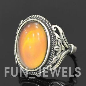 New-925-Sterling-Silver-Vintage-Oval-Mood-Ring-Multi-Color-Change-retro-Unisex