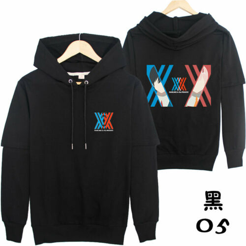 DARLING in the FRANXX Long Sleeve Sweater Hoodie Harajuku Pullover Coat Black#3