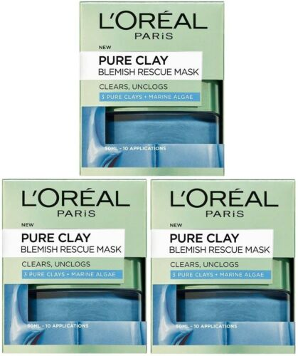 3 x 50ml LOreal Pure Clay Blemish Rescue Mask Blue 3 Pure Clays + Marine Algae