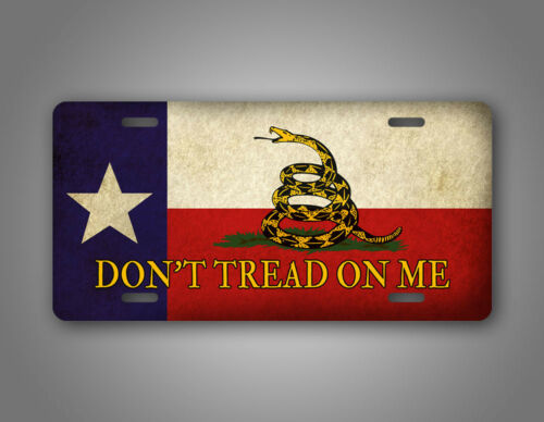 Don/'t Tread On Me Texas State Flag License Plate Americana Gadsden Tea Party USA