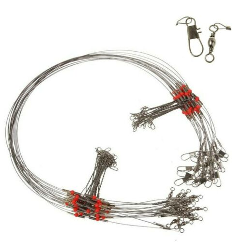 10* Fishing Wire Leader Trace With Snap Stainless Steel Arms Keep the Hooks