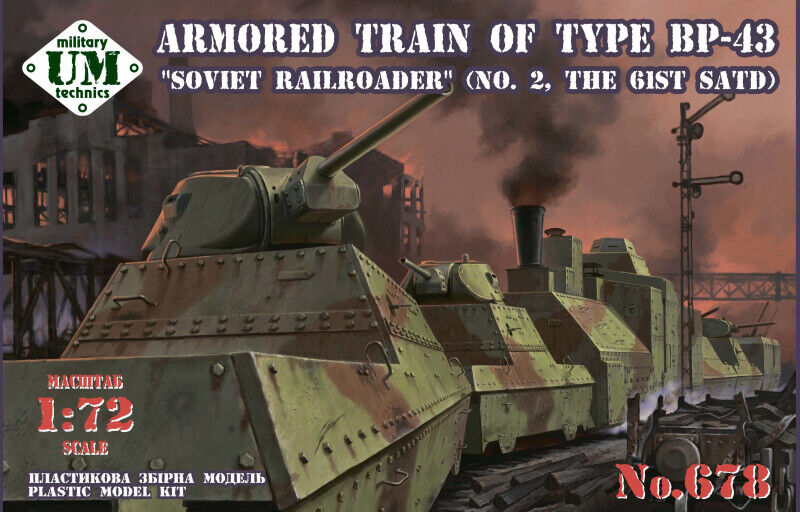 Armored train of type BP-43  Soviet railroader   UMmt  72 scale