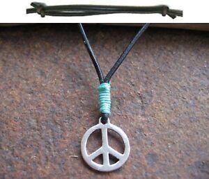 Peace-Halskette-Anhaenger-Hippie-Surfer-blau-Herren-Leder-schwarz-Damen-neu-Kette