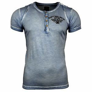 Rusty Neal t-shirt manches courtes personnage souligne Motif v-neck print hommes slim fit r-6776