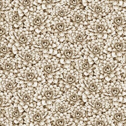 Wilmington Tivoli Garden by Anne Rowan 68405 221 Tan Tonal Packed Flowers Cotton