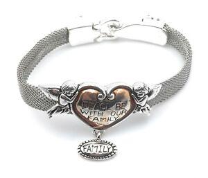 Cherub-Angel-Heart-Bracelet-Religious-Family-Dangle-Charm-Silver-Plated-Enamel