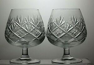ROYAL-DOULTON-CRYSTAL-034-HELLENE-034-CUT-BRANDY-GLASSES-SET-OF-2-5-034-TALL-12-OZ