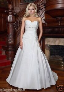 STOCK-New-Taffeta-White-Ivory-Beads-Wedding-Dress-Bridal-Gown-SZ-6-8-10-12-14-16
