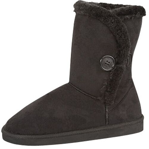 Women's Casual Cozy Button Flat Heel Faux Fur Mid Calf Winter Boot Shoes NEW