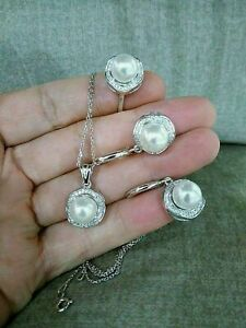 925 Sterling Silver Turkish Handmade Jewelry Pearl Ladie's Set Ring Size 7