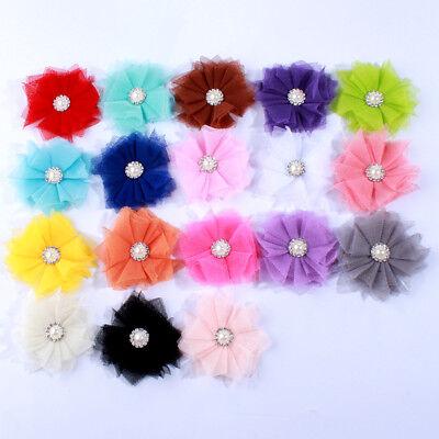 30pcs 6.5cm Artificial Chiffon Flowers For Headbands Hair Accessories