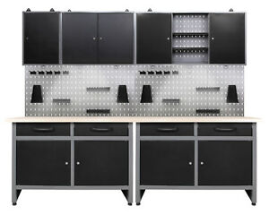 Ondis24 Werkstatt Set 240cm Werkbank Metall 3x Werkzeugschrank Lochwandhaken LED