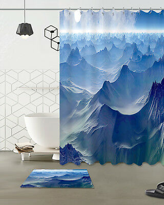 Alpacas and mountains Bathroom Shower Curtain Waterproof Fabric w//12 Hooks new