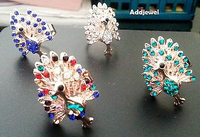 18 K Gold Plated Crystal Rhinestone Peacock Fashion Resizable Ring Multicolored