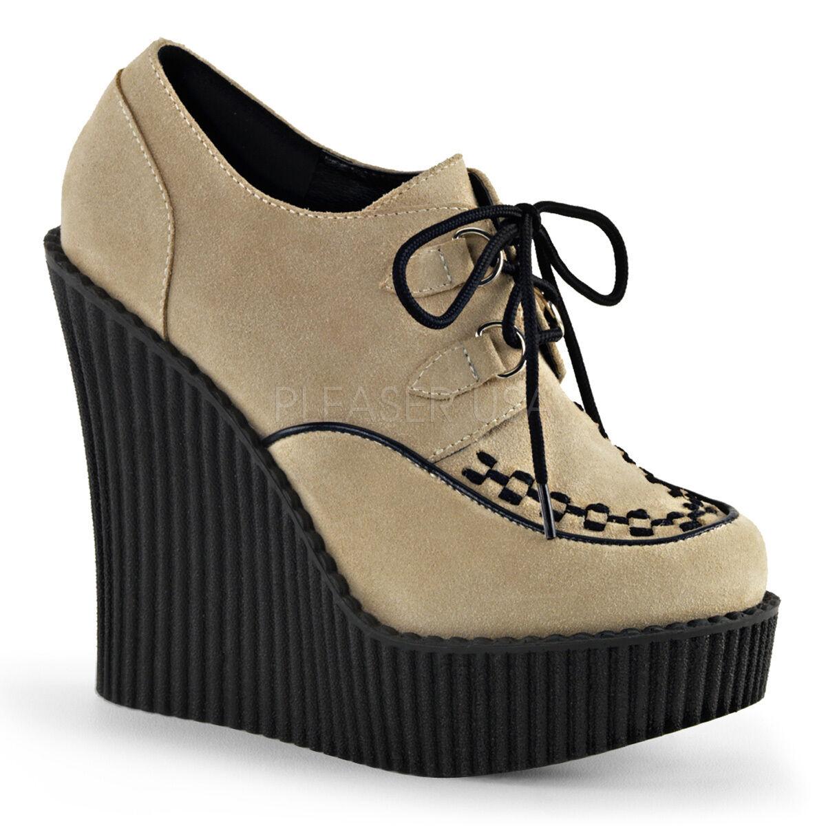 Demonia Creeper 302 Ladies Beige Wedge Platform Vegan Suede Shoes