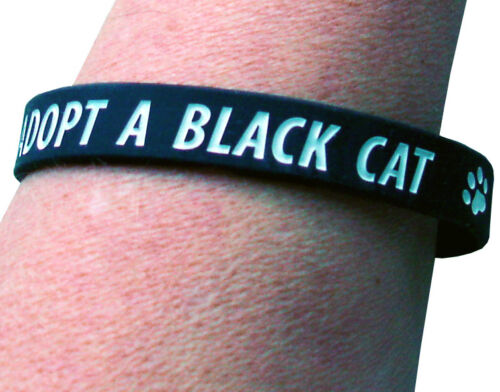100/% TO CHARITY ADOPT A BLACK CAT CHARITY WRISTBAND BLACK ADULT SIZE