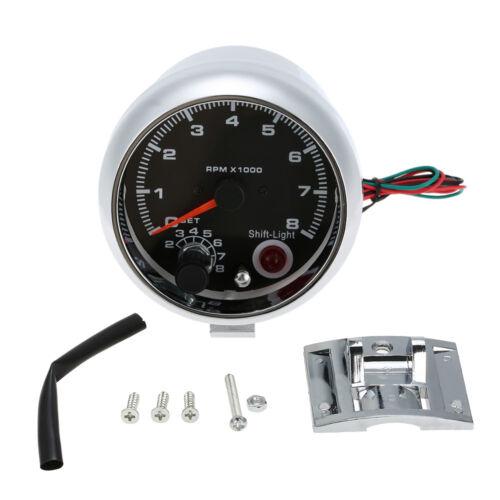 3.75/'/' Universal Car Tachometer Tacho Gauge Meter Shift Light 0-8000 RPM L3D4