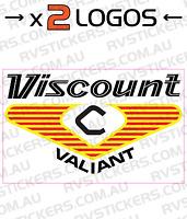 2x Viscount 1970s Valiant Square Logo Vintage Retro Caravan Decal