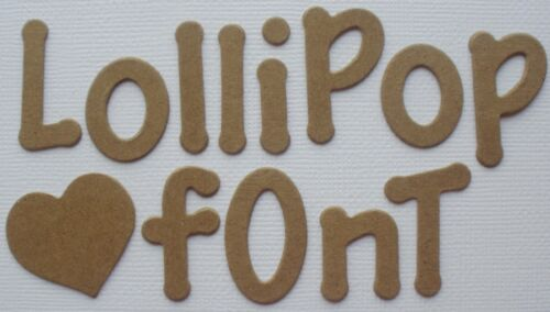 Uppercase /& Lowercase Alphabet Letters Chipboard 55 Pc 1 1//8 LOLLIPOP FONT