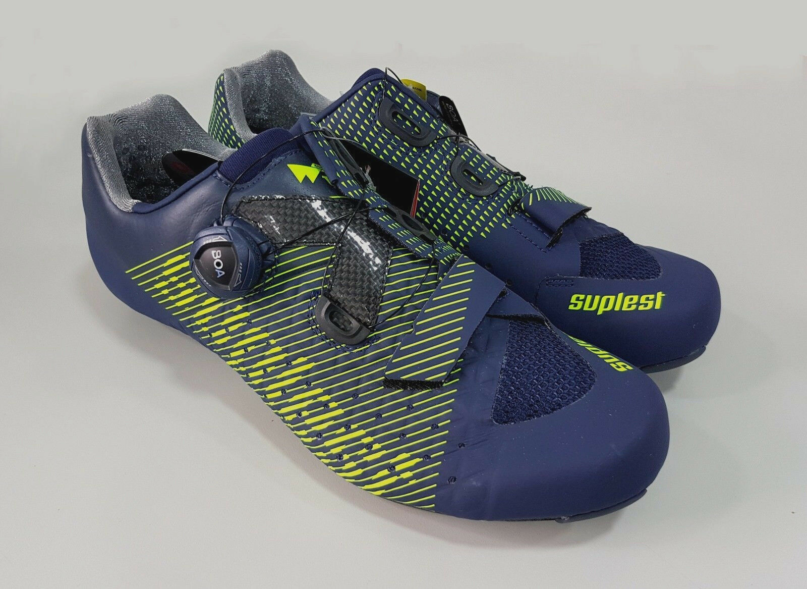 Suplest Edge3 Performance Comp Cycling Road Bike scarpe Dimensione 44.5 Navy Lime
