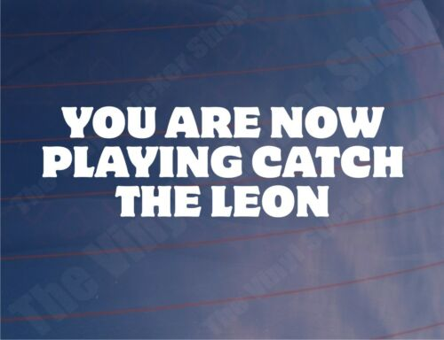 YOU ARE NOW PLAYING CATCH THE LEON Funny Seat Car//Window//Bumper Sticker//Decal