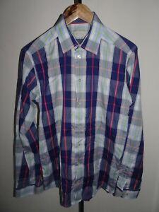 VGC-ETON-Mens-Slim-Fit-Shirt-Blue-Long-Sleeve-Button-Cuff-SIZE-MEDIUM-M-15-5-034