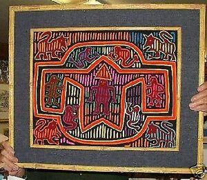 Panamanian-Mola-Needle-Art-Work-Panama-Cuna-Indian-Native-Craft-Framed