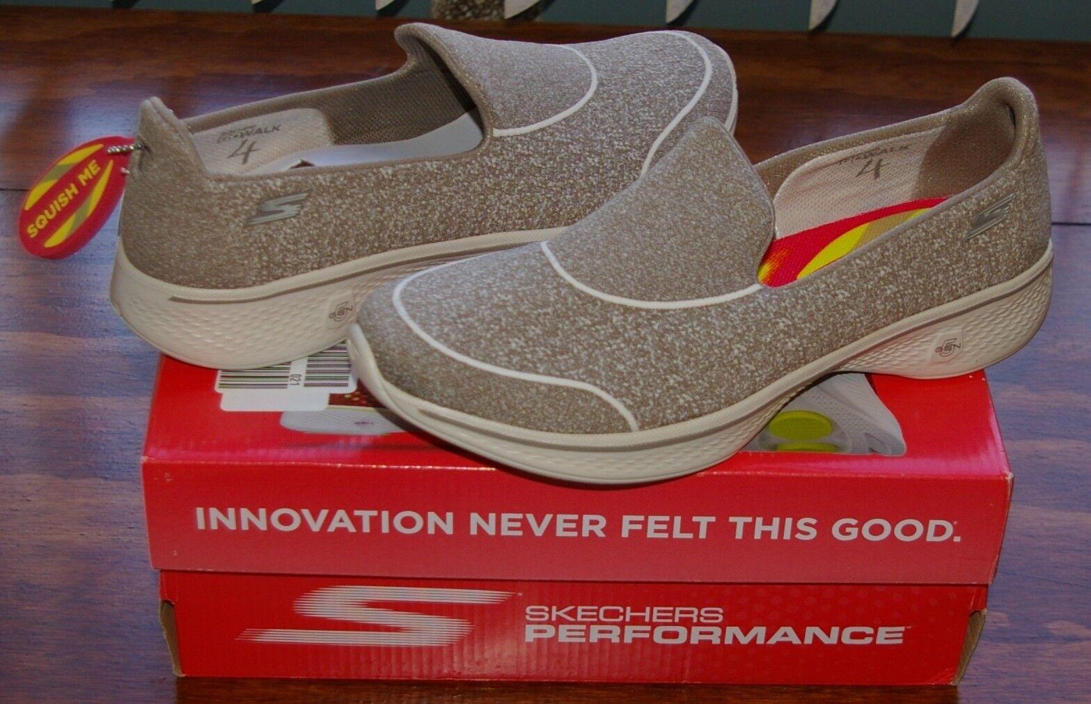 Skechers Performance Go Walk 4 Super Sock 4 Taupe Walking Schuhe 14161 Sz 9.5 M