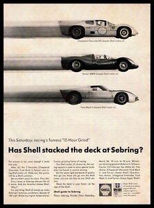 1966 Shell Oil Sebring Ferrari 330P3 Ford GT MK2 Chaparral Chevrolet D2 Print Ad