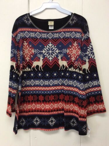 Jess and Jane Wonderlands Holiday /& Reindeer Christmas Black Shirt Large