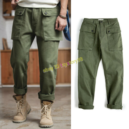 American Vintage Work P44 Men/'s Big Pocket Overalls Military Trousers Army Pants
