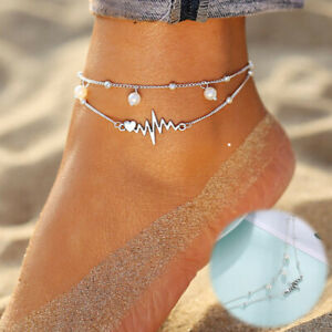 Ankle Bracelet Silver Heart Double Women Foot Jewelry Anklet Beach Chain