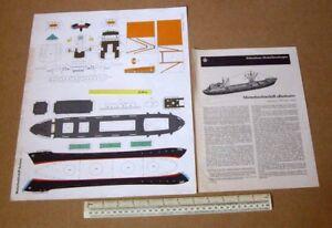 Motor-Freighter-Borkum-JFS-Schreiber-Paper-Model-Cutout-Kit-1960s-Vintage-294