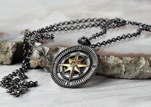 COMPASS-Turkish-Handmade-Mens-No-stone-Pendant-Necklace-925-Sterling-Silver