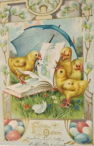 034-Ostern-Kueken-Schirm-Buch-Ostereier-034-1900-Praegekarte-22261