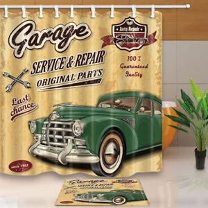 Image Is Loading Poster Decor Retro Car Bathroom Fabric Shower Curtain