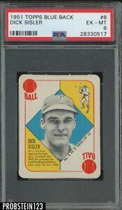 1951-Topps-Blue-Back-8-Dick-Sisler-Philadelphia-Phillies-PSA-6-EX-MT
