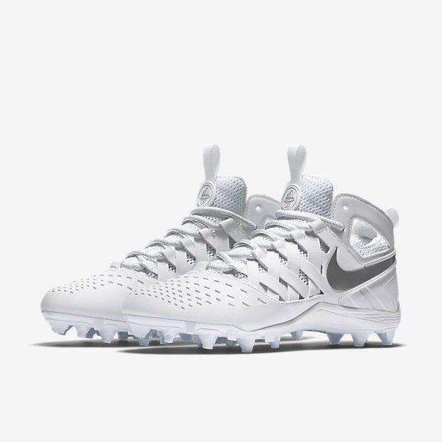 Men's Nike Huarache V Lacrosse Cleats - White/Silver - NIB!