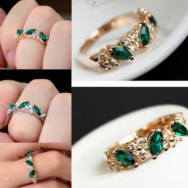 Women New Engagement Ring Fashion Jewelry 18K Gold Plated Emerald 17mm Hot