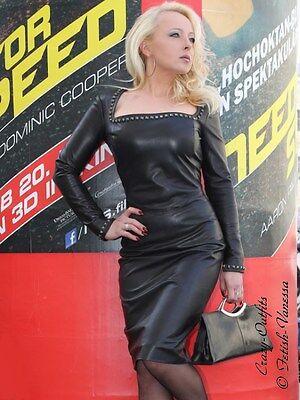 Lederkleid Leder Kleid Schwarz Knielang Nieten Glamour Größe 32 - 58 XS - XXXL